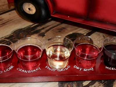 A flight of drinks featuring cranberry, pinot grigio and dry rose