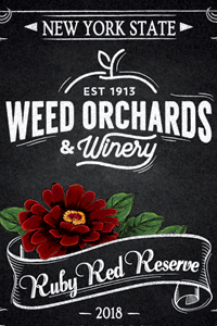 Ruby Red Reserve bottle featuring a dark red zinnia.