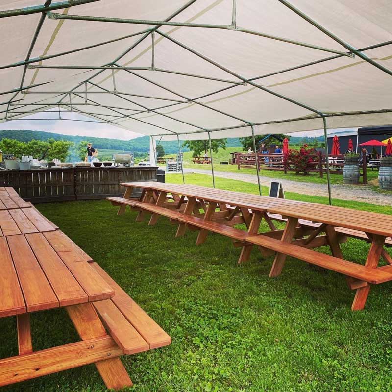 Two rows of picnic tables underneath a large white tent