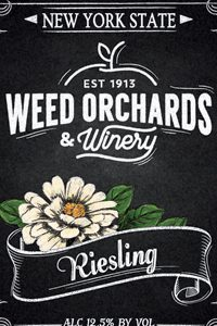Riesling bottle label with white zinnia