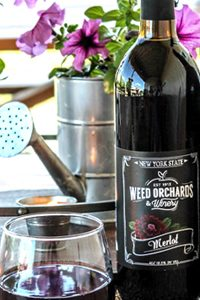 Merlot bottle with deep burgundy zinnia