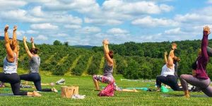 People practicing yoga outdoors.